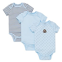 Little Me® 3-Pack Monkey Star Bodysuits in Blue