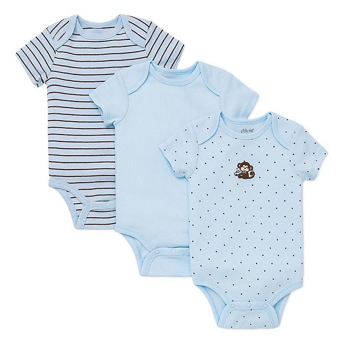 Alternate image 1 for Little Me® Size 3M 3-Pack Monkey Star Bodysuits in Blue