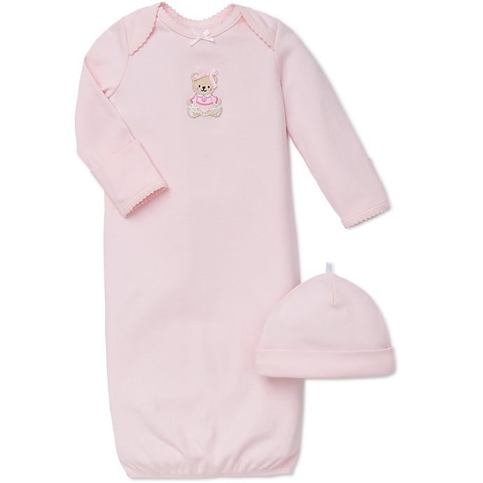 Alternate image 1 for Little Me® 2-Piece Sweet Bear Long-Sleeve Gown and Hat Set in Pink