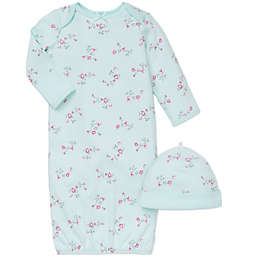 Little Me® 2-Piece Floral Gown and Hat Set in Aqua/Pink