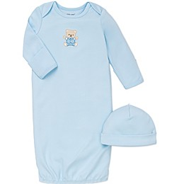 Little Me® 2-Piece Cute Bear Long-Sleeve Gown and Hat Set in Blue