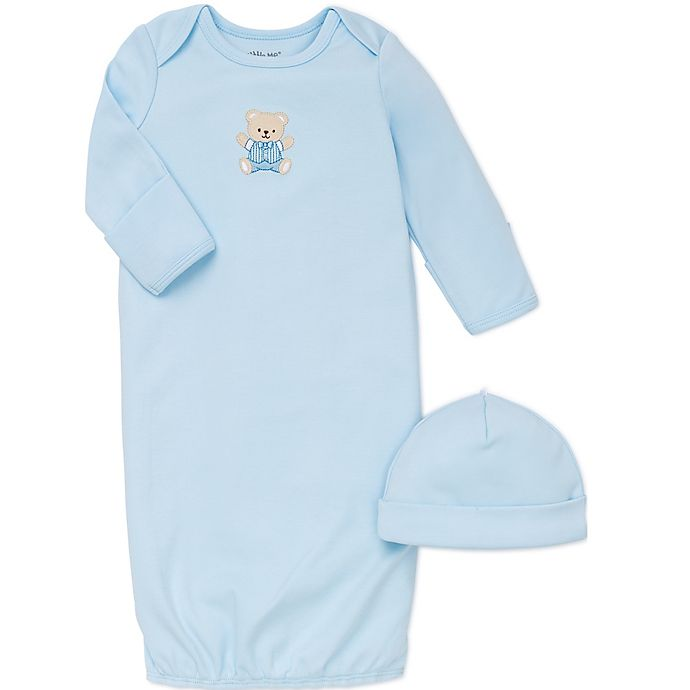 Alternate image 1 for Little Me® 2-Piece Cute Bear Long-Sleeve Gown and Hat Set in Blue