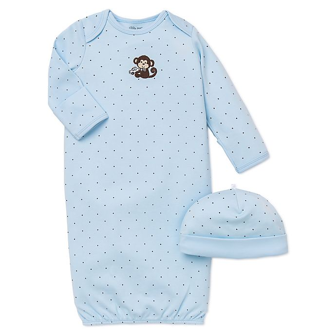 Alternate image 1 for Little Me® 2-Piece Monkey Star Long-Sleeve Gown and Hat Set in Blue