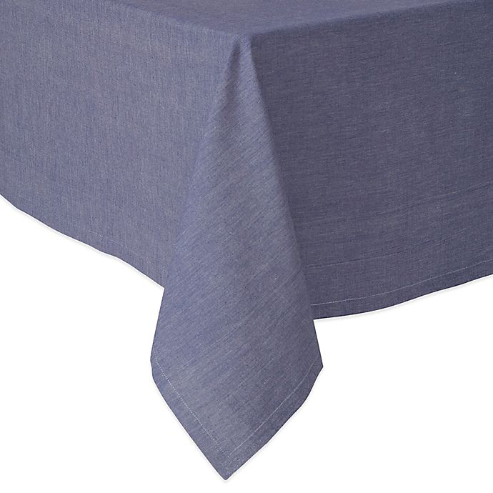 Alternate image 1 for Chambray 70-Inch Square Tablecloth in Navy