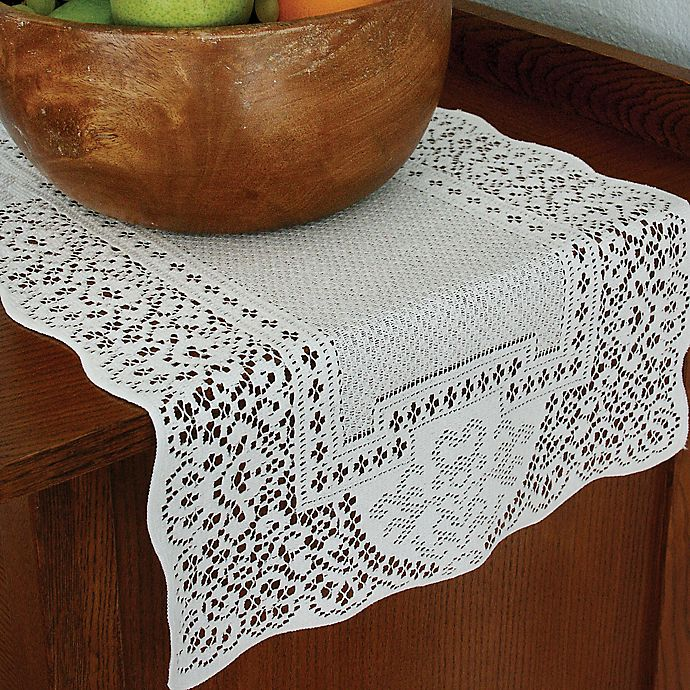 Alternate image 1 for Heritage Lace® Canterbury Classic 72-Inch Table Runner in White