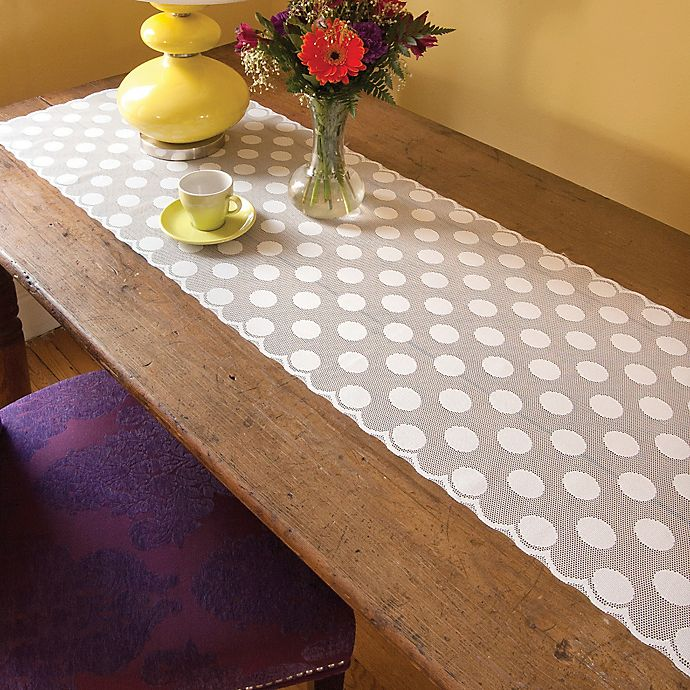 Alternate image 1 for Heritage Lace® Polka Dot 72-Inch Table Runner in White