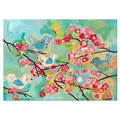 Oopsy Daisy Cherry Blossom Birdies Multicolor Canvas Wall Art