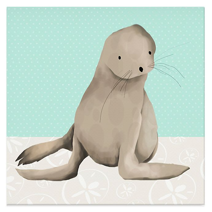 Alternate image 1 for Oopsy Daisy Sam the Sea Lion Canvas Wall Art in Aqua