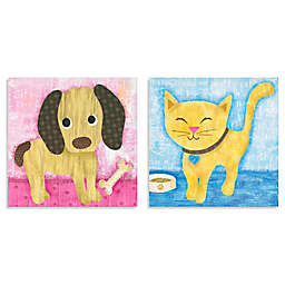Oopsy Daisy Too Bow Wow Pup and Meow Kitty 2-Piece Canvas Wall Art