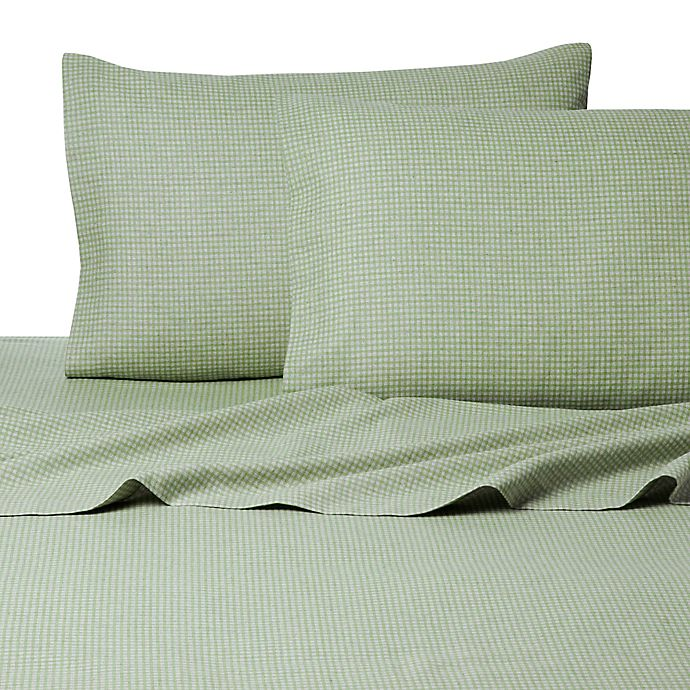 Alternate image 1 for Belle Epoque La Rochelle Collection Gingham Heathered Flannel California King Sheet Set in Sage