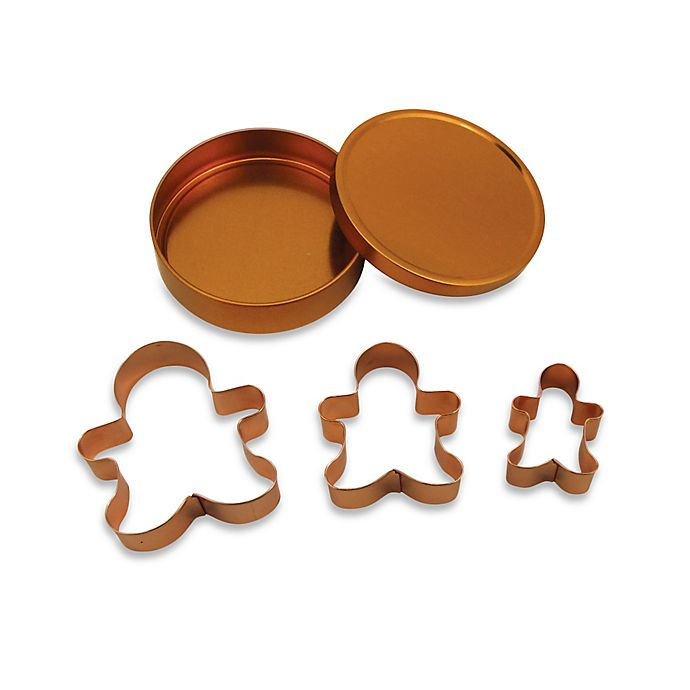 Alternate image 1 for 3-Piece Copper Plated Gingerbread Man Cookie Cutter Set