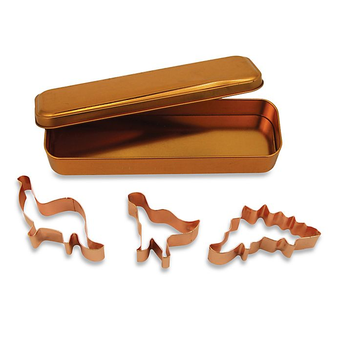 Alternate image 1 for 3-Piece Copper Plated Dinosaur Cookie Cutter Set