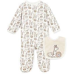 Little Me® Preemie 2-Piece Safari Footie and Bib Set in Ivory/Brown