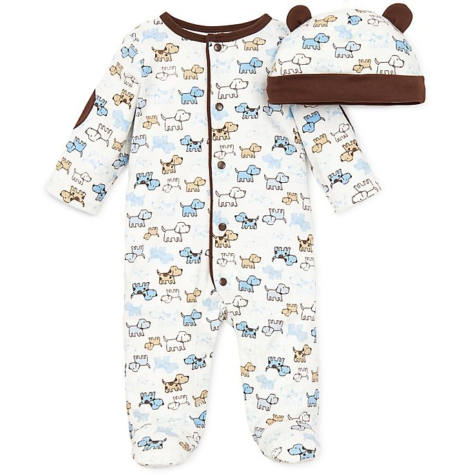 Alternate image 1 for Little Me® Preemie 2-Piece Cute Puppies Footie and Hat Set in Ivory/Brown