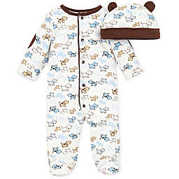 Little Me® Preemie 2-Piece Cute Puppies Footie and Hat Set in Ivory/Brown
