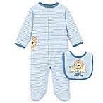 Little Me® Preemie 2-Piece Lovable Lions  Daddy Loves Me  Footie and Bib Set in Light Blue