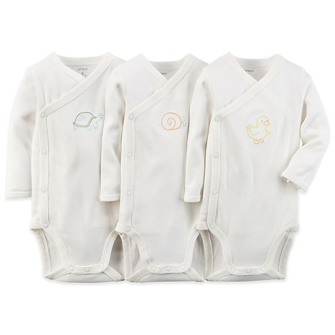 7e0f6bb8b Carter's® 3-Pack Side-Snap Bodysuit in Ivory | Bed Bath & Beyond