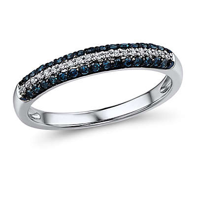 10K White Gold .25 cttw Blue and White Diamond Ladies' Pave Multi-Row Ring