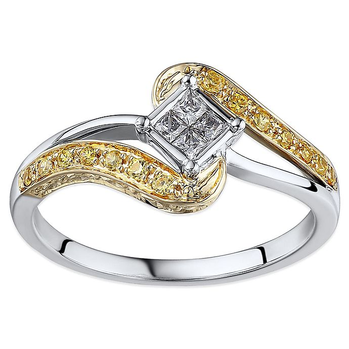 Alternate image 1 for 10K White and Yellow Gold .25 cttw White and Yellow Diamond Size 8 Wrapped Promise Ring