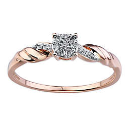 10K Rose Gold .10 cttw Diamond Composite Center Rope Accent Ladies' Promise Ring