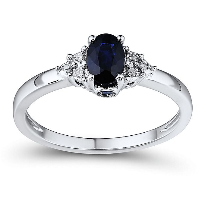 Alternate image 1 for 10K White Gold .03 cttw Diamond and Oval Sapphire Princess Size 6 Ladies' Ring