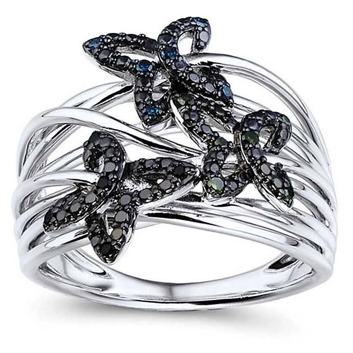 Alternate image 1 for 10K White Gold .10 cttw Black, Blue & Green Diamond Butterfly Crown of Butterfly's Size 7 Ring
