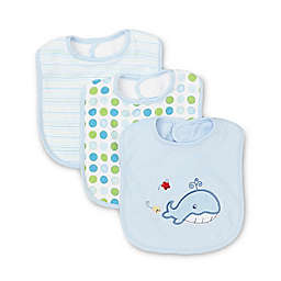 Spasilk® 3-Pack Terry Bib with Whale Applique in Blue