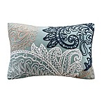 INK+IVY Kiran Embroidered Oblong Throw Pillow in Blue