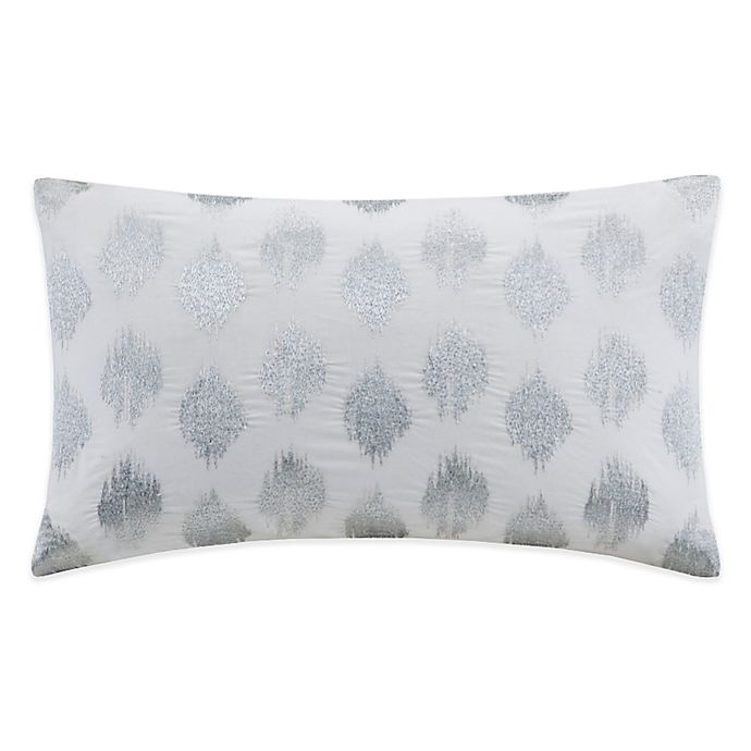 Alternate image 1 for INK+IVY Nadia Dot Embroidered Oblong Throw Pillow in Silver