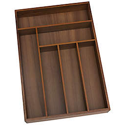 Lipper Large Acacia Wood 6-Compartment Flatware Organizer Tray
