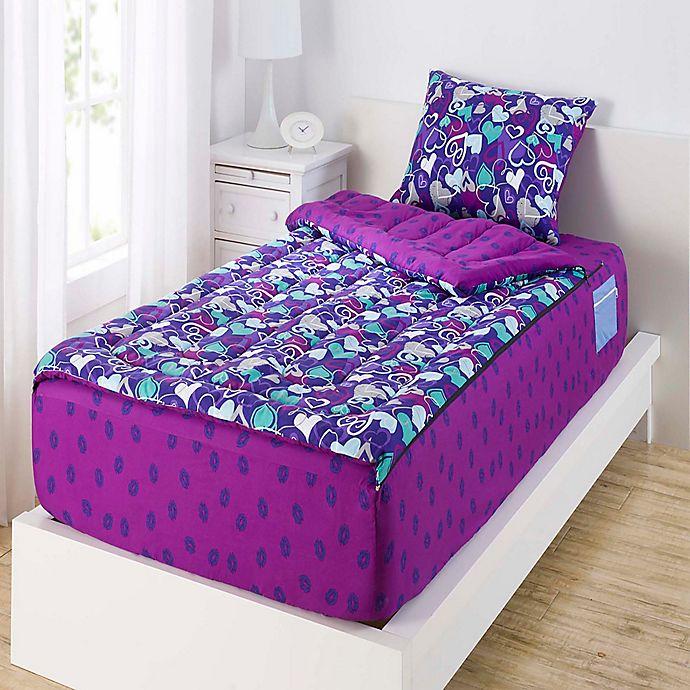 Zipit Bedding 174 Hearts And Lips Reversible Comforter Set In