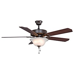 AireDécor by Fanimation 52-Inch x 19.3-Inch Ceiling Fan with White Bowl Shade in Oil Rubbed Bronze