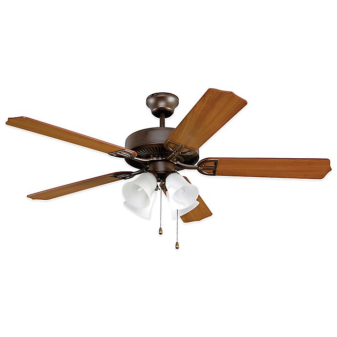 Alternate image 1 for AireDécor by Fanimation 4-Light 52-Inch Ceiling Fan with White Glass in Bronze
