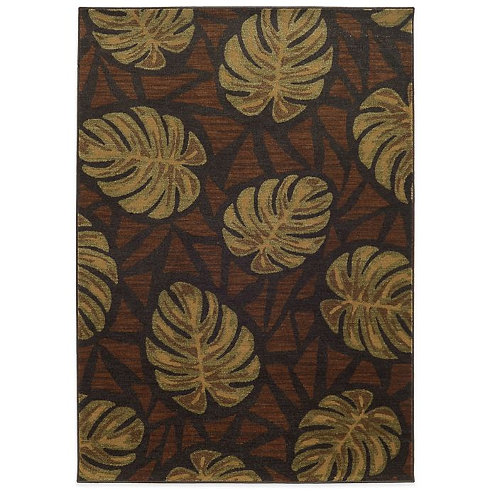 Alternate image 1 for Tommy Bahama® Voyage 9-Foot 10-Inch x 12-Foot 10-Inch Leaf Rug in Brown
