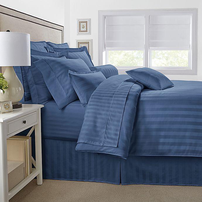 Alternate image 1 for 500-Thread-Count Damask Stripe King Pillow Sham in Blue Jean