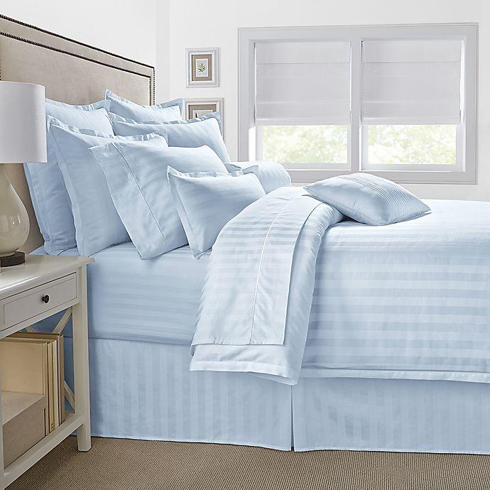 Alternate image 1 for 500-Thread-Count Damask Stripe King Pillow Sham in Light Blue