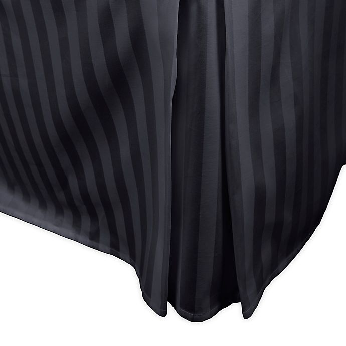 Alternate image 1 for 500-Thread-Count Damask Stripe Twin Bed Skirt in Black
