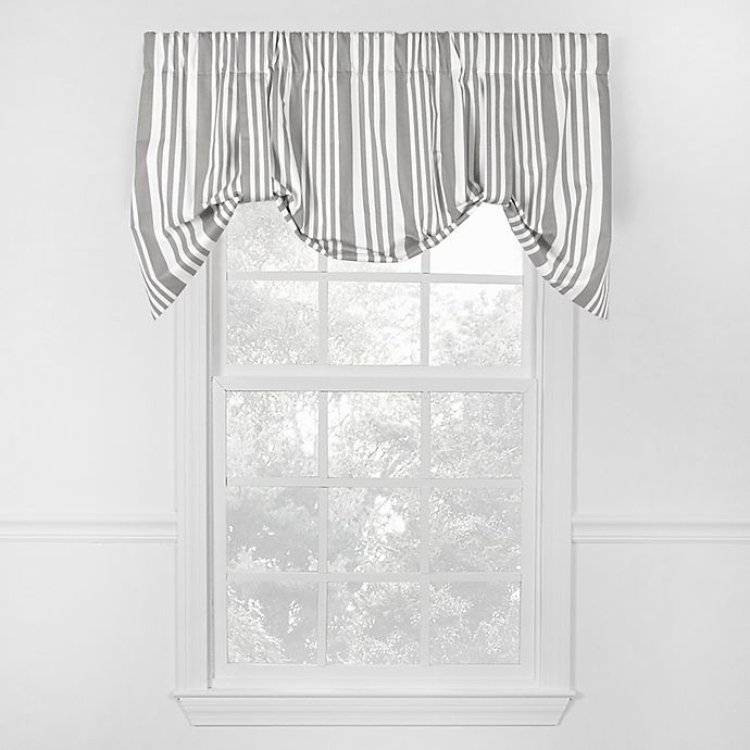 Alternate image 1 for Piper Stripe Tie Up Valance in Grey