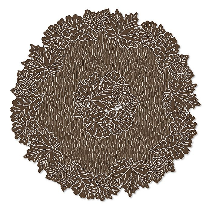 Alternate image 1 for Heritage Lace® Leaf 36-Inch Round Table Topper in Earth