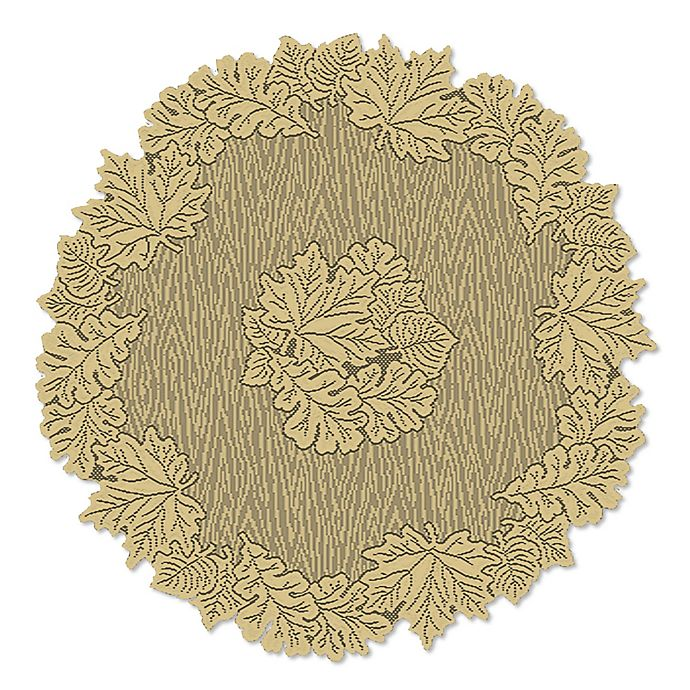 Alternate image 1 for Heritage Lace® Leaf 36-Inch Round Table Topper in Goldenrod