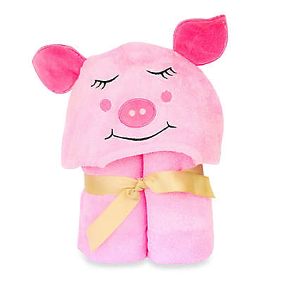 Little Ashkim Size 0-24M Piggy Hooded Turkish Towel in Pink