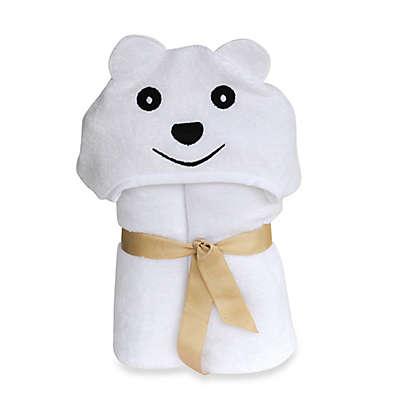 Little Ashkim Size 0-24M Bear Hooded Turkish Towel in White