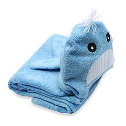 Little Ashkim Size 2T-5T Whale Hooded Turkish Towel in Blue