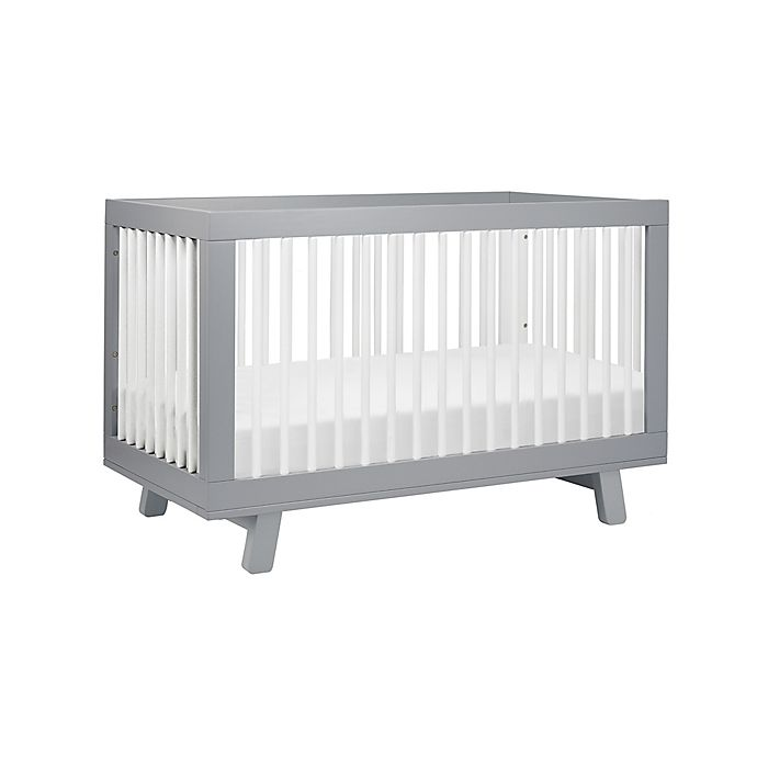 Alternate image 1 for Babyletto Hudson 3-in-1 Convertible Crib in Grey/White