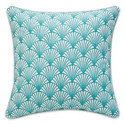 Williamsburg Barnegat Sea Shell Square Throw Pillow in Blue