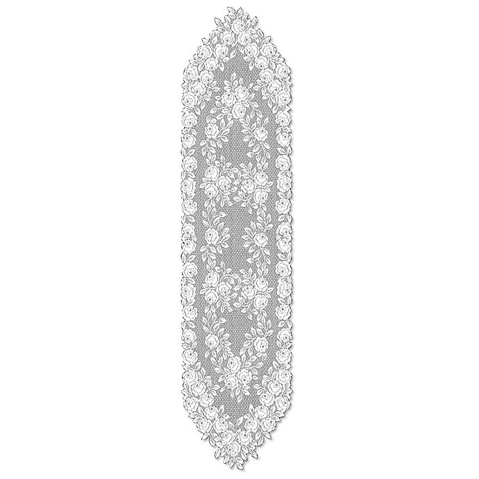 Alternate image 1 for Heritage Lace® Tea Rose 60-Inch Table Runner in White