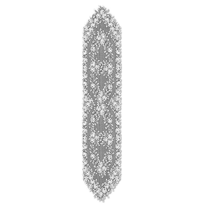 Alternate image 1 for Heritage Lace® Tea Rose 72-Inch Table Runner in White