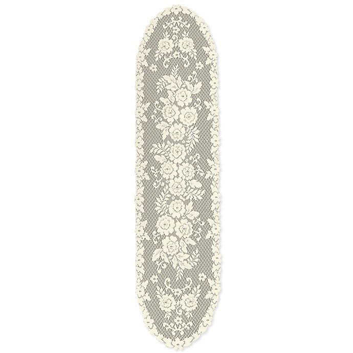 Alternate image 1 for Heritage Lace® Victorian Rose 54-Inch Table Runner in Ecru