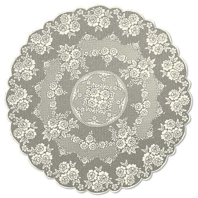 Alternate image 1 for Heritage Lace® Victorian Rose 72-Inch Round Tablecloth in Ecru
