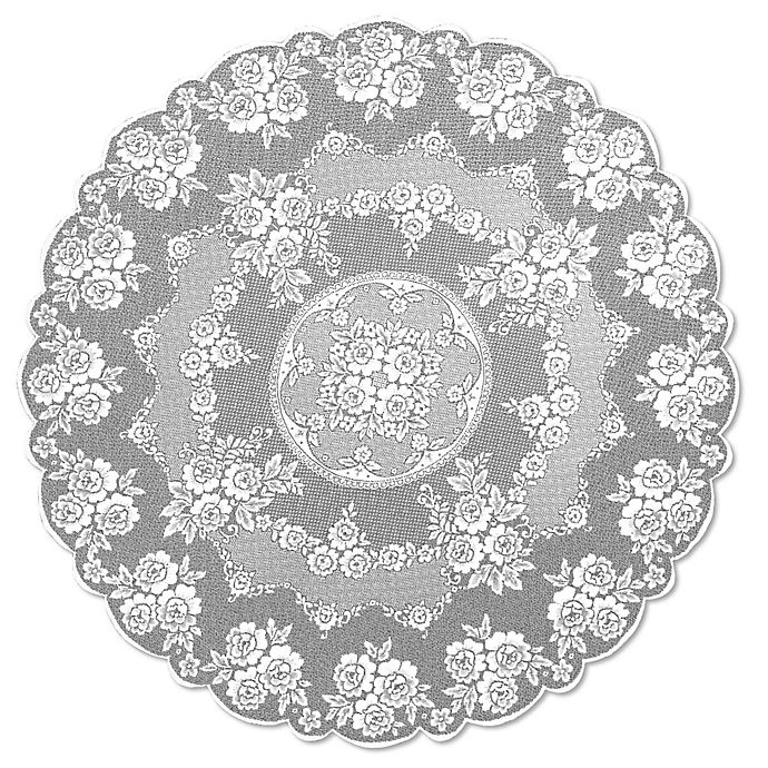 Alternate image 1 for Heritage Lace® Victorian Rose 72-Inch Round Tablecloth in White